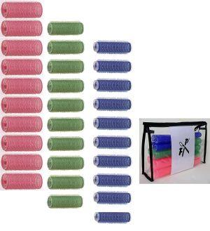 Haftwickler-Set 25 tlg. mit Kosmetik-Tasche in Handtaschenoptik