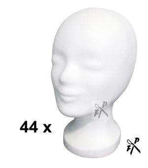 6 x Styroporkopf, einfach - weiss (M)