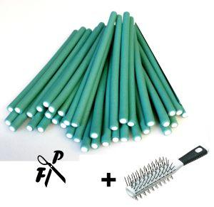 Papilotten Flex-Wickler 8 mm grün, 36 Stck. + Kosmetiktasche