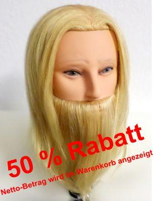Übungskopf Echthaar Mann mit Bart 100 % Echthaar  - AKTIONSPREIS